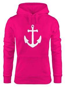 Hoodie Damen Anker Sweatshirt Kapuze Kapuzenpullover Moonworks® pink S