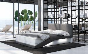 Boxspringbett Airo, Bettrahmen Farbe:Kunstleder weiß-Stoff grau, Bett Liegemaße:200x200 cm, Bett Matratze:Deluxe Matratze