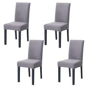Bezüge für Esszimmerstühle, 4er-Pack moderne elastische Stretch-Stuhlbezüge Strickjacquard abnehmbare waschbare Sitze Schonbezüge, Silbergrau