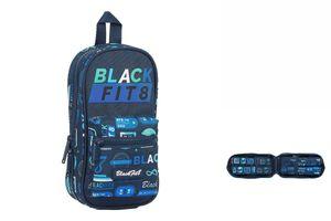 Rucksack mit Federtaschen BlackFit8 Retro Marineblau