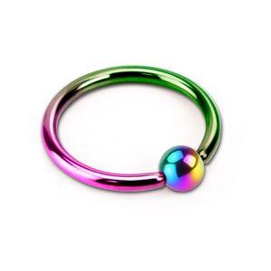 viva-adorno 1,2 x 6 x 3mm Piercing BCR Ball Closure Ring Lippenring Klemmring Edelstahl in verschiedenen Farben und Größen Z53,regenbogen