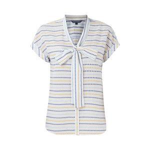TOMMY HILFIGER Jasmin Schluppen-Bluse schicke Damen Sommer-Bluse mit Allovermuster Weiß/Blau/Gelb, Größe:34