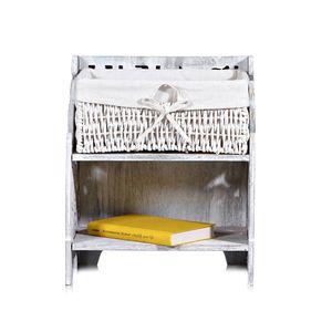 Nachttisch Kommode Beistellkommode Staufach Holz Schlafzimmer weiß grau Shabby Vintage Antik Nachtschrank Nachtkommode Nachtschränckchen