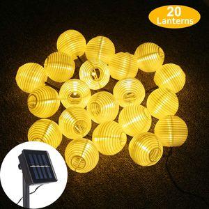 LED Solar Lichterkette Lampions, Wasserdicht 20er LED Lampions Laterne Lichterkette Garten Innen und Außenbereich