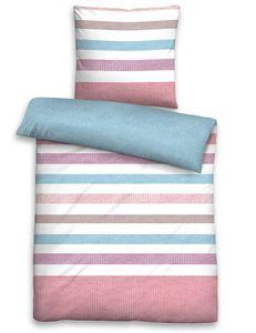 Biberna Seersucker Bettwäsche QUERSTREIFEN-WENDE blau pflegeleicht bügelfrei , GRÖßENAUSWAHL:200x200 cm + 2x 80x80 cm