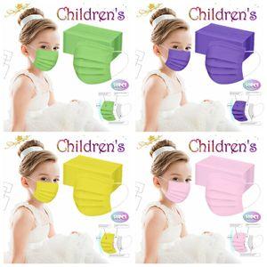 200 Stück Kinder Einweg Maske Einwegmasken 3 lagig Mundschutz Einwegmaske Grün+Lila+Rosa+Gelb Gesichtsmaske für Kinder