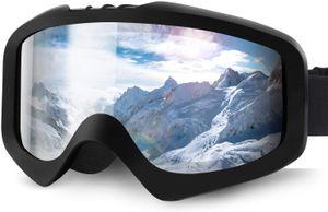 Skibrille, Ski Snowboard Brille Brillenträger Schibrille Verspiegelt, Doppel-Objektiv OTG UV-Schutz Anti Fog Snowboardbrille Damen Herren Kinder für Skifahren Snowboard— QingShop
