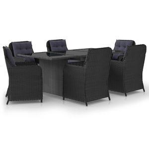 Gartenmöbel Essgruppe 6 Personen ,7-TLG. Terrassenmöbel Balkonset Sitzgruppe: Tisch mit 6 Stühle, Poly Rattan Schwarz❀6202