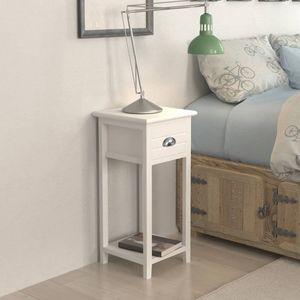 【Neu】Nachttische Nachttisch mit 1 Schublade Weiß Gesamtgröße:30 x 30 x 63 cm BEST SELLER-Möbel-Tische-Nachttische im Landhaus-Stil