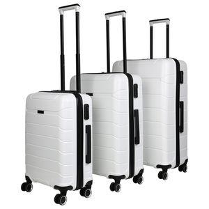 Koffer Hartschalenkoffer 4-Rollen Trolley Stoßfestes Polycarbonat ABS Reisekoffer 178944 SIZE - L Weiß