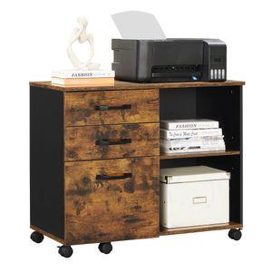 VASAGLE Rollcontainer, 80 x 40 x 66 cm, frei beweglich, mit Rollen und 3 Schubladen, für Dokumente in DIN A4, Letter-Format, Druckerständer, vintagebraun-schwarz OFC041B01