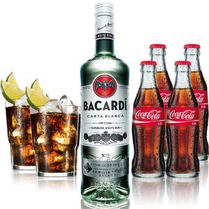 Cuba Libre Set - Bacardi Carta Blanca Rum 0,7l 700ml (37,5% Vol) + 4x Coca Cola 0,2L + 2x Bacardi Glas Gläser 2/4cl geeicht - Inkl. Pfand MEHRWEG