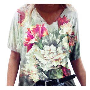 Frauen neue Mode bunte Blumen kurzärmelige Top bedruckte T-Shirt Größe:XXXXL,Farbe:Weiß