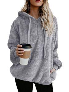 Frauen Casual Hoodie Pullover Langarm Teddybär Kapuze Fluffy Fleece Sweater,FarbeHellgrau,GrößeM
