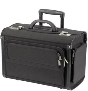 Pilotenkoffer Aktenkoffer Laptop Trolley Koffer Polyester Schwarz 48 cm Bowatex