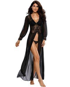 y Frauen Blosse lange Spitze Robe-Waesche-Kleid mit Blumen Ausgebogte mit V-Ausschnitt Mesh-Unterwaesche Nachtwaesche Nachtwaesche Schwarz
