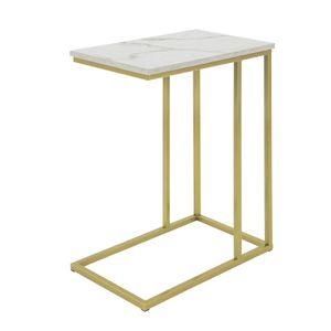 SoBuy FBT87-G Beistelltisch mit Ablagefach Sofatisch Kaffeetisch Laptoptisch Betttisch Pflegetisch mit goldenem Metallgestell