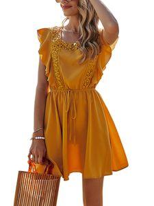 Lässiges Strandkleid Am Strand Für Damen,Farbe: Gelb,Größe:S