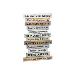 CEPEWA Schild Familienregeln Holz 51x33cm, mehrfarbig