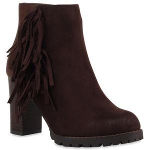 Mytrendshoe Damen Stiefeletten Fransen Ankle Boots Profilsohle 77651, Farbe: Dunkelbraun, Größe: 36