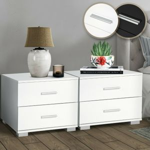 MIADOMODO® Nachttisch 2er-Set - 40x40x35 cm, MDF, Griffe aus Metall, zwei Schubladen, Weiß- Nachtschrank, Kommode Ablagetisch, Nachtkommode für Schlafzimmer, Wohnzimmer