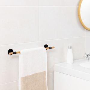 Navaris Handtuchhalter aus Bambus - Handtuchstange aus Holz für die Wand - Handtuch Stange für Bad Küche - Geschirrtuch Halter Wandmontage - Natur