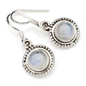 Mondstein Ohrringe 925 Silber Sterlingsilber Ohrhänger weiß (MOH 90-04)