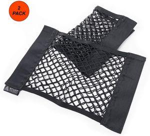 Kofferraumnetztaschen schwarz (2 Stück) mit starken Klettstreifen - Autonetz Kofferraumtasche Kofferraum Organizer mit Klett - elastisch - (38x25cm)