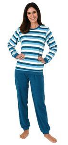 Damen Frottee Pyjama Schlafanzug mit Bündchen in Streifenoptik - 62958, Farbe:türkis, Größe:40/42