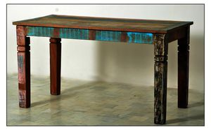SIT Möbel Esstisch aus recyceltem Altholz, bunt lackiert | B 140 x T 70 x H 76 cm | 09114-98 | Serie RIVERBOAT