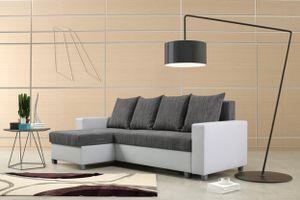 Schlafsofa Sofa Couch Ecksofa Eckcouch weiß hellgrau Schlaffunktion Luanda 3 L/R