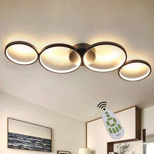 ZMH LED Dimmbar Deckenlampe Modern Wohnzimmerlampe 4 Flammig in Ringoptik, 55W Schwarze Innen Deckenleuchte aus Aluminium Dekorative Kronleuchter für Schlafzimmer Wohnzimmer Büro Arbeitszimmer, 88cm [Energieklasse A++]
