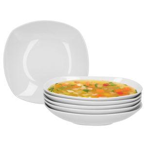 6er Set Suppenteller Lilli 500ml 220x220mm Menüteller Nudeln Salat Schale edles Porzellan weiß