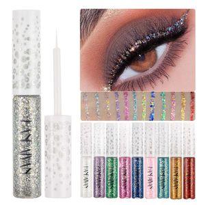 12Stk/ Set Flüssiger Eyeliner Glitter Metallic Jelly Bunte Pailletten Eyeliner Lidschatten