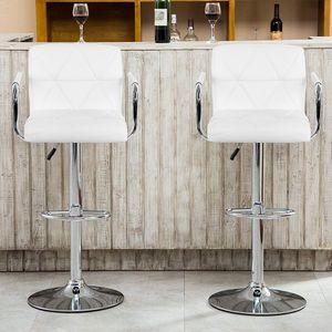 2er Set Barhocker Tresenhocker mit Armlehnen Barstuhl Drehstuhl aus Kunstleder Höhenverstellbar Weiß Köpe