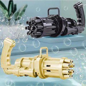 2 Stück Gatling bubble machine, 8-Loch-Seifenblasenmaschinen mit großer Kapazität, Automatische seifenblasenpistole, schwarz und gold