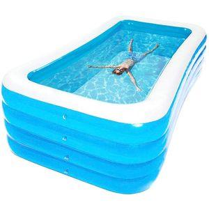 Aufblasbare Pool Badewanne Schwimmbad Kinderbecken/ Family Schwimmbad Planschbecken Schwimmbecken 180x150x72cm Blau
