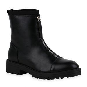 Mytrendshoe Damen Klassische Stiefeletten Zipper Stiefel Blockabsatz Schuhe 835414, Farbe: Schwarz, Größe: 39