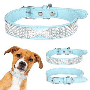 Strass Lederband Hundehalsband Welpen Katze Haustier Halsband, XS(20-26cm), Blau