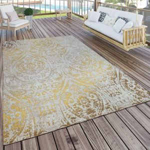 In- & Outdoor Teppich Modern Shabby Chic Stil Terrassen Teppich  Gelb, Grösse:160x220 cm