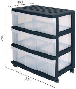 IRIS OHYAMA Rollcontainer 3 hohe + breite Schubladen, scharz/transparent 6160