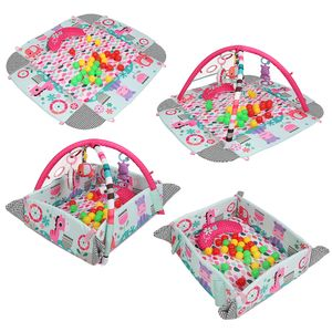 WYCTIN Krabbeldecke Erlebnisdecke Spielbogen Spielmatte mit anpassbaren Wänden, Melodien sowie 30 Bällen und Spielzeugen Rosa