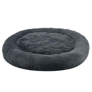 Juskys Haustierbett Monty XXXL 120 cm – Hundebett rund für Hunde & Katzen – Katzenbett flauschig & waschbar – Hundekissen in Donut Form – Dunkelgrau