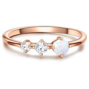 Ring Sterling Silber rosévergoldet Zirkonia weiß Opal (synth). 48