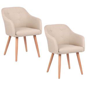 Kingpower Esszimmerstühle 2er, 4er, 6er, 8er Set, Polsterstuhl Sessel mit Armlehne in verschiedenen Farben, Auswahl:2 Sessel - beige