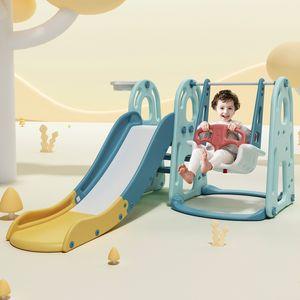 Spielplatz Kinder Rutsche mit Schaukel 3 in 1 Spielturm Kletterturm indoor Aktivitätszentrum für Kinder inkl. Basketballkorb