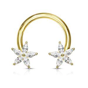 viva-adorno 1,6 x 12mm Hufeisen Piercing Front Kristall Stern Zirkonia Septum Brust Nippel Sterne Z549, gold