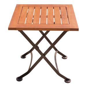 Tisch, Eukalyptus, Stahl, klappbar, braun, H 45 cm, WIEN