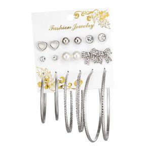 9 Paar verschiedene mehrere Hoop Drop baumeln lange Ohrringe Ohrstecker Set Silber wie beschrieben