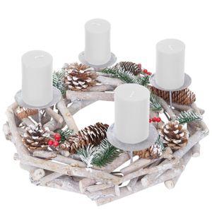 Adventskranz rund, Weihnachtsdeko Tischkranz, Holz Ø 35cm weiß-grau  mit Kerzen, weiß